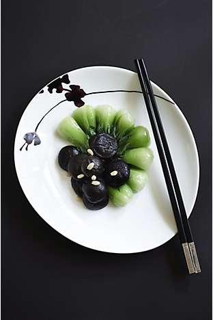 Soy-braised black mushrooms and mustard greens