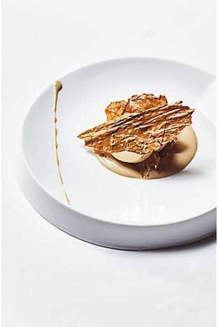 liquorice parfait with crystallised Kentucky tobacco leaves, spiced pear and coffee cream
