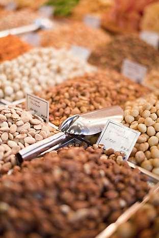 A nut stall at La Boqueria