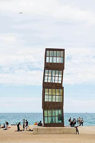 L'Estel Ferit art installation by Rebecca Horn on Barceloneta beach