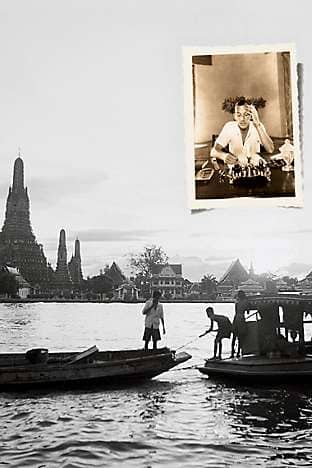The Chao Phraya river and Noël Coward (inset)