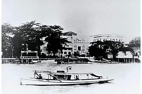 A steam launch on the Chao Phraya in the 1890s
