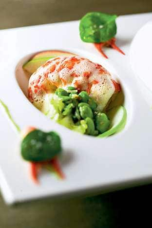 Marron tail with peas, broad beans, crushed pistachio and apple shavings