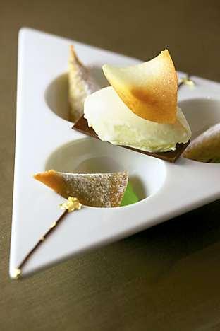 Chocolate and gold leaf samosas