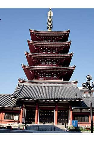 The five-storey pagoda at Senso-ji