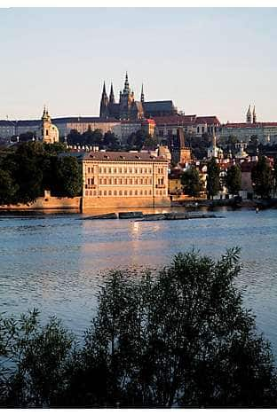Prague Castle above Malá Strana, from across the River Vltava