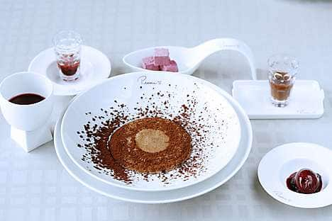 A delicate chocolate soufflé served at Pierre