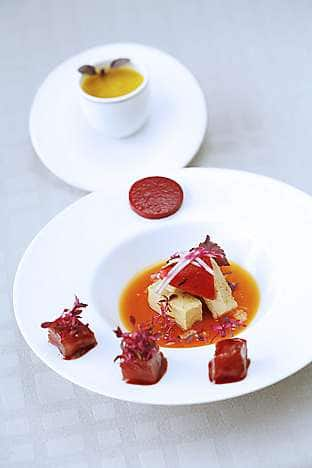 Le Rouge at Pierre includes red-pepper jelly, foie gras and red tuna