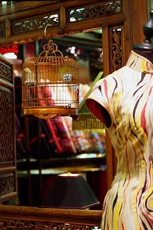 Live birds sing in cages in Shanghai Tang, on Pedder Street