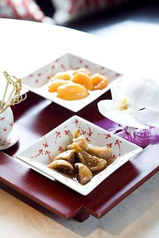 Dried apricots and figs in syrup served in the relaxation room