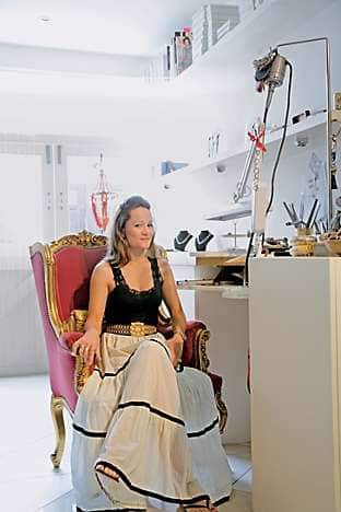 Jewellery designer Tara Agace in her mews house/workshop
