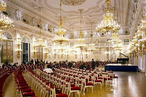 Preparation for a concert in the Spanish Hall at Prague Castle