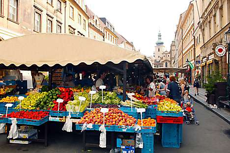 A Prague farmers' market