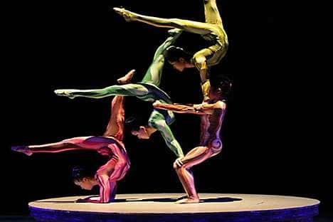 Acrobats take part in the performance 'ERA Intersection of Time'