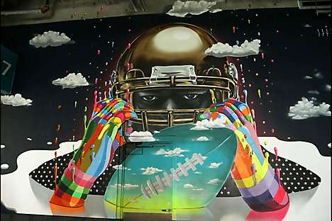 A mural at Miami's Hard Rock Stadium