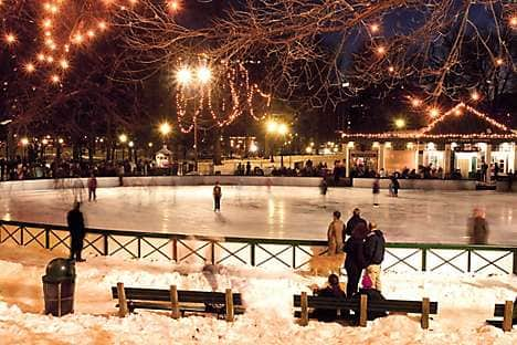 Ice skating on Frog Pond, Boston Common