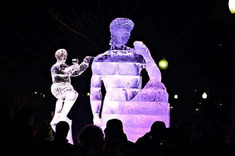 An ice sculpture for Boston's New Year's Eve festival, First Night