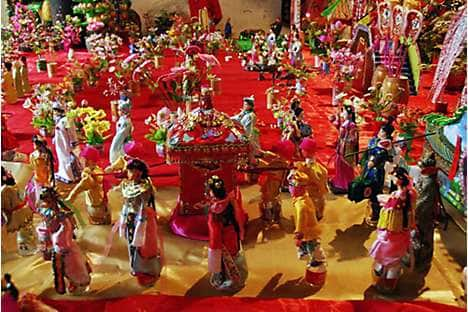 Qi Qiao Festival dolls at Zhucun village