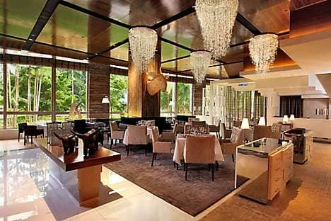 The Mandarin Grill overlooking the lush KLCC Park