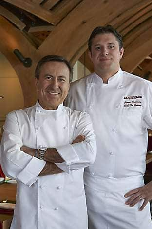 Chef Daniel Boulud (left) with Bar Boulud, Boston's Chef de Cuisine, Aaron Chambers