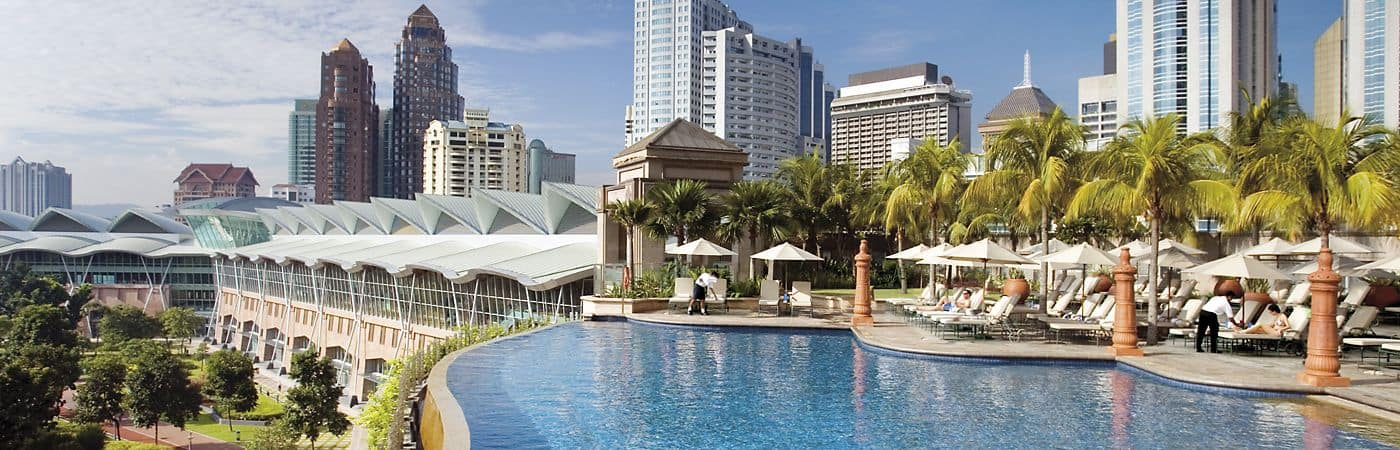 The luxurious infinity pool at the Mandarin Oriental, Kuala Lumpur overlooks Kuala Lumpur City Center (KLCC) park and provides guests with an urban oasis in the heart of Malaysia's vibrant capital city.