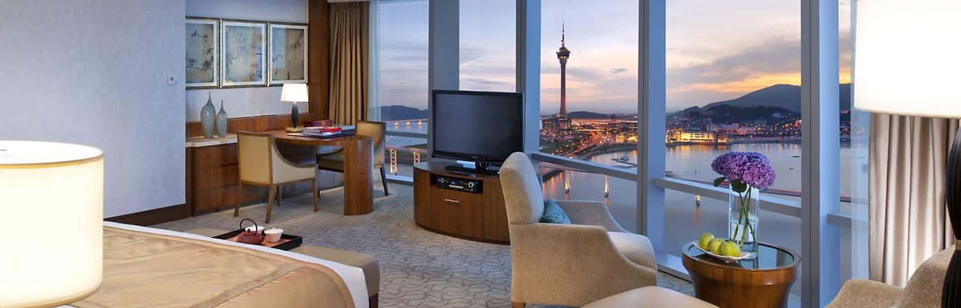 Luxurious hotel accommodations along with breathtaking views of Macau.
