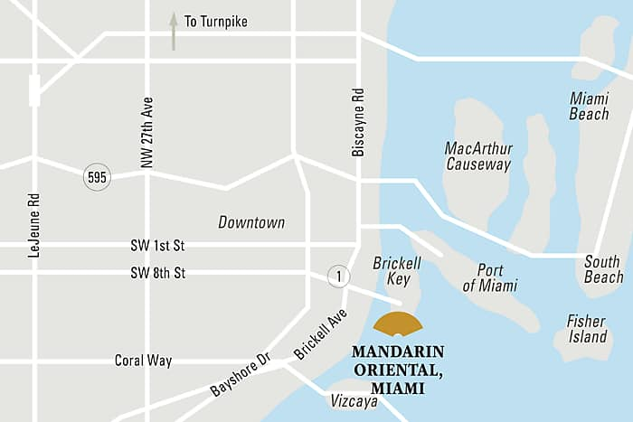 Mandarin Oriental, Miami hotel directions and map.