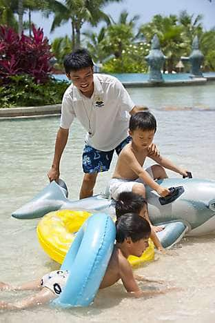 Supervised fun in the leisure pool with the Kids' Club at Mandarin Oriental, Sanya