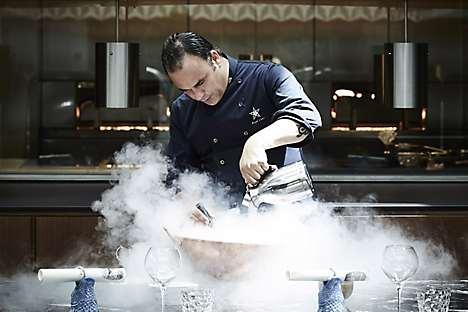 León at chef's table La Mesa, making Iodic Soup in a copper cauldron