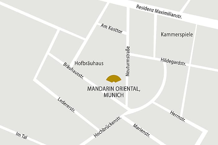 Map of the area surrounding the Mandarin Oriental Hotel located in downtown Munich.