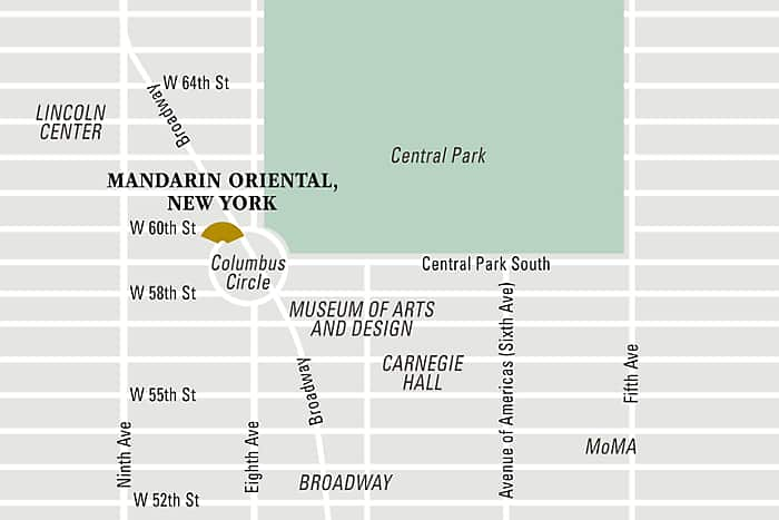 Mandarin Oriental, New York hotel directions and map.