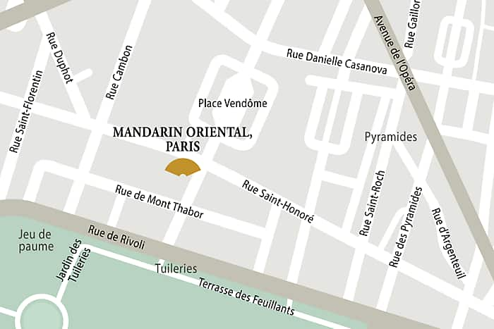 Mandarin Oriental, Paris hotel directions and map