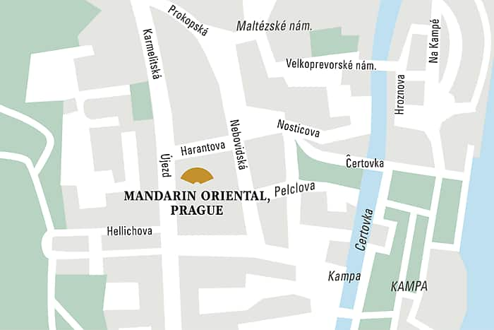 Mandarin Oriental, Prague hotel directions and map.