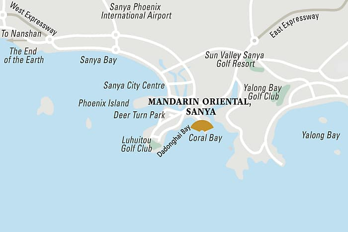 Explore a map of the area surrounding the Mandarin Oriental, Sanya and discover the many unique features of this luxurious island destination.
