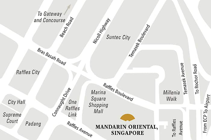 Mandarin Oriental, Singapore hotel directions and map