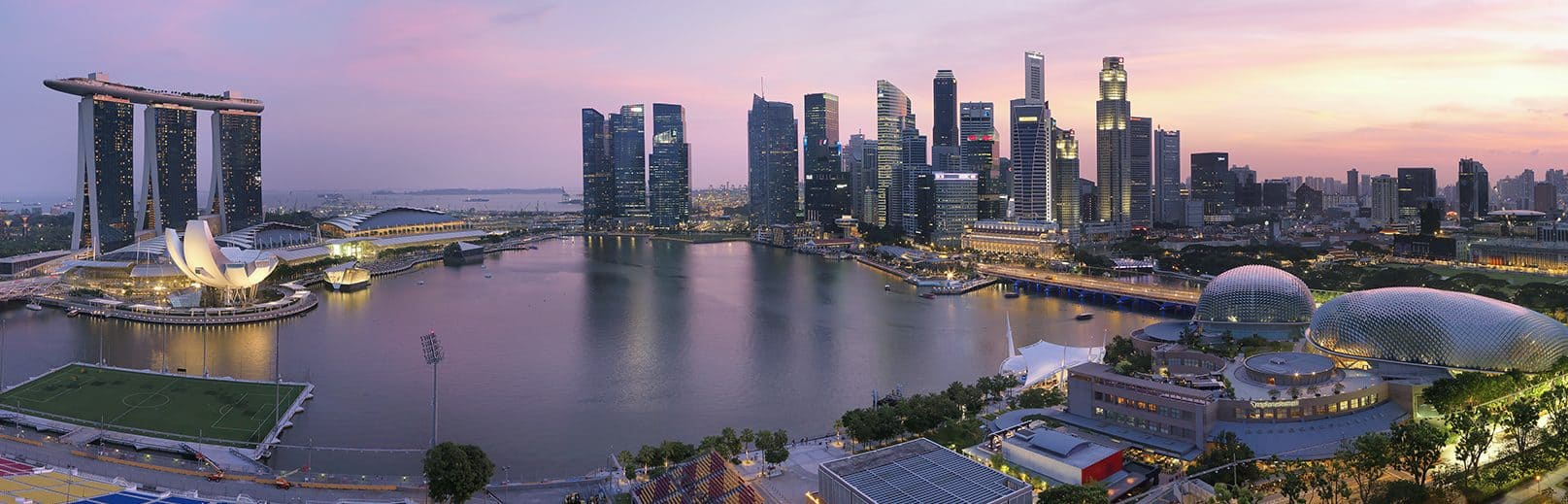 A panoramic view of Marina Bay from the Mandarin Oriental, Singapore