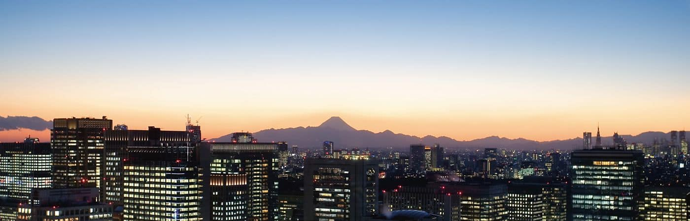 A panoramic view of downtown Tokyo framed by the natural beauty of the surrounding mountains