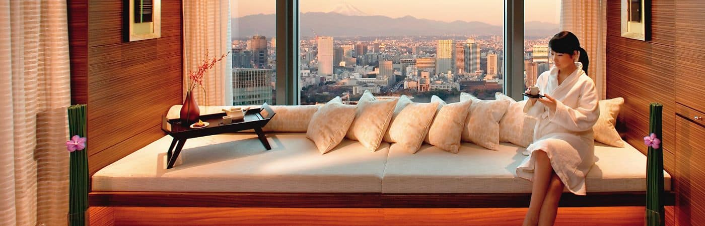 Escape to your own cloud of relaxation high above the streets of Tokyo in our serene 37th floor spa
