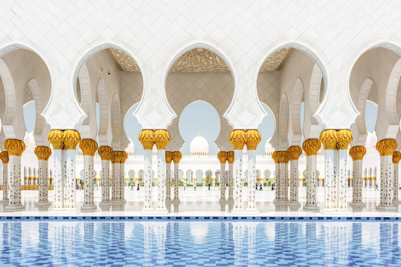 Pillars and courtyard pool at the Sheikh Zayed Grand Mosque