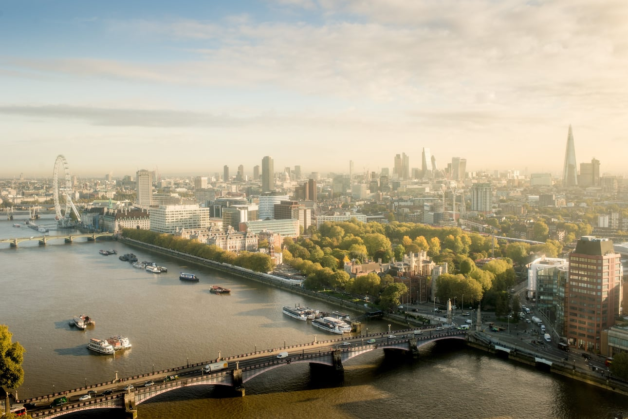 View of London's skyline south of the River Thames including the London Eye