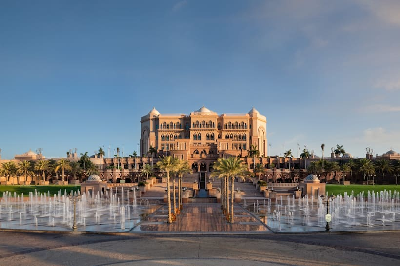emirate palace with fountains