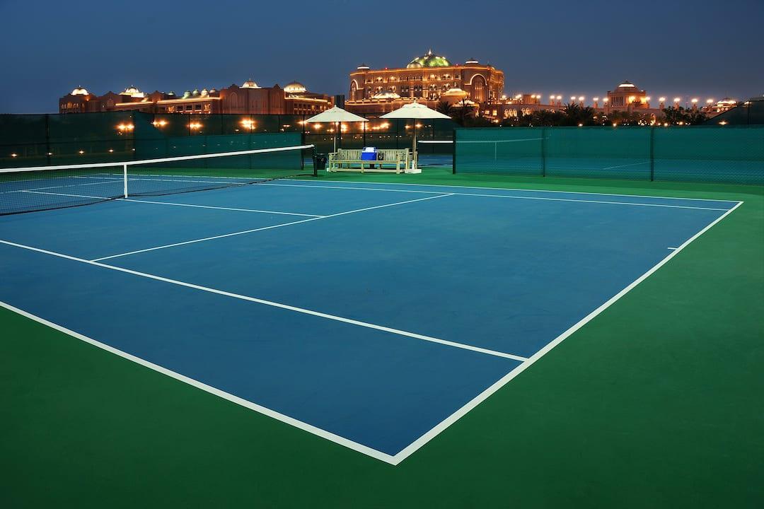 Tennis court evening