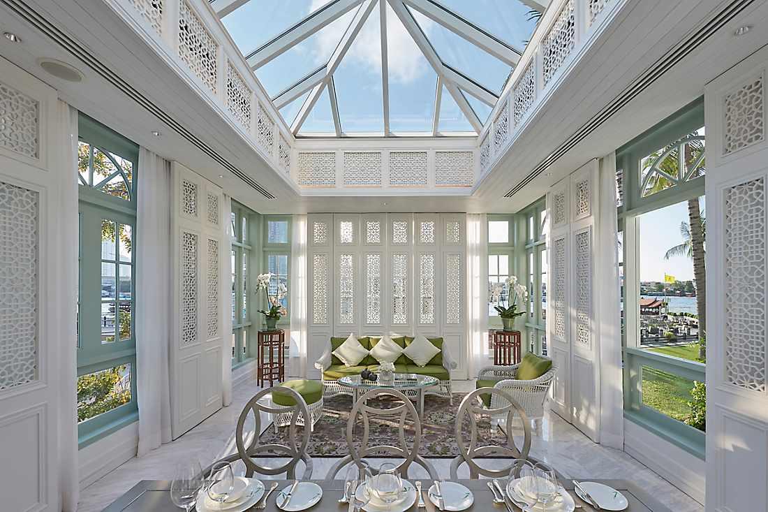 Glass conservatory dining area in the Ambassador Suite, Mandarin Oriental, Bangkok