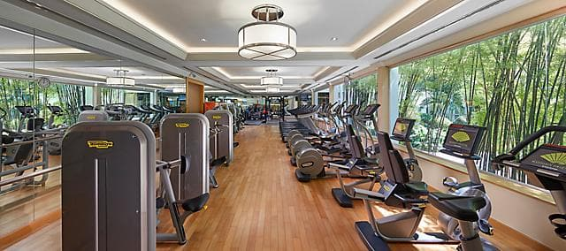 gym with equipment at mandarin oriental, bangkok