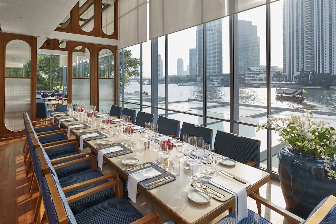 private dining in lord jims with river view at mandarin oriental, bangkok