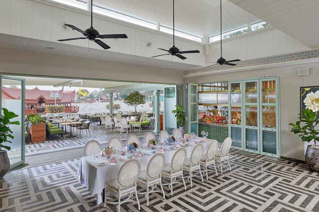 riverside terrace private dining set up at mandarin oriental, bangkok