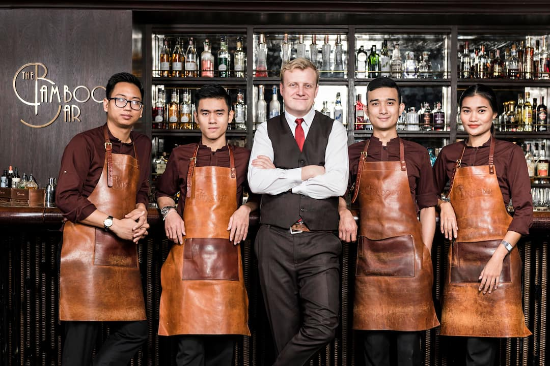 team from bamboo bar at mandarin oriental, bangkok