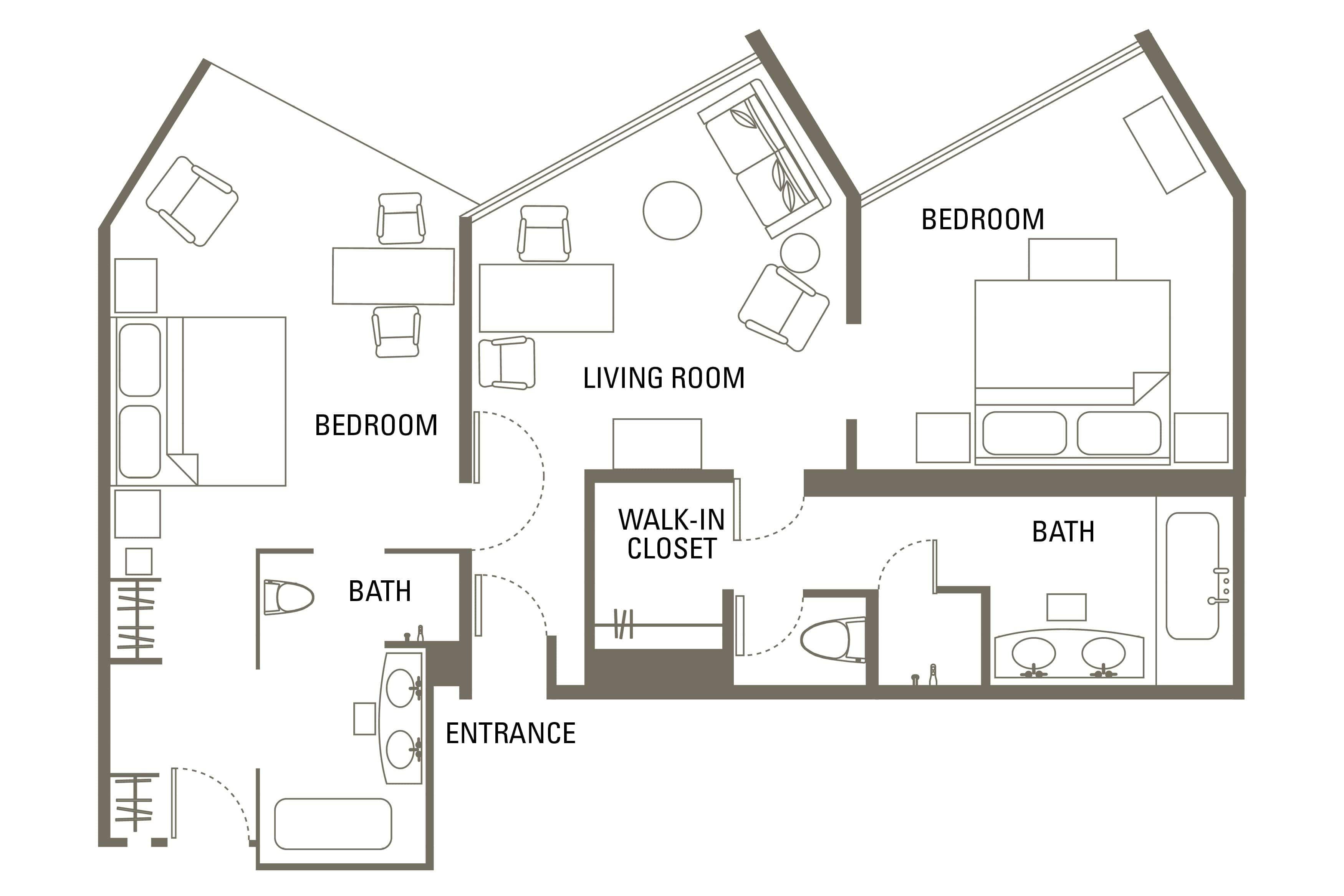 family two bedroom suite bangkok floorplan