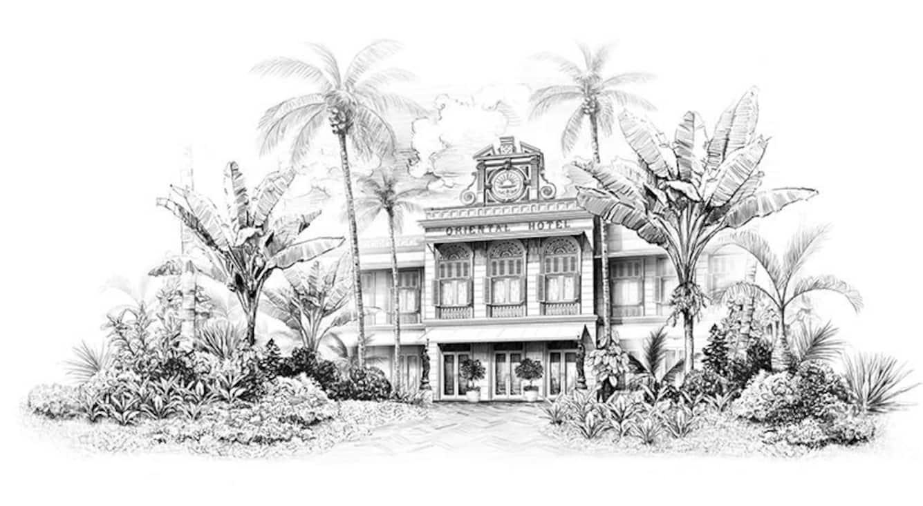 historical photo of hotel exteior at mandarin oriental, bangkok