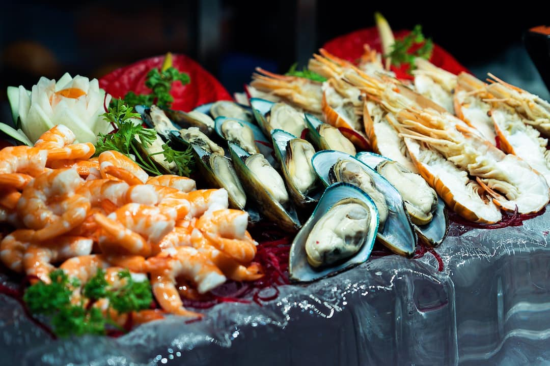 seafood platter from riverside terrace at mandarin oriental, bangkok